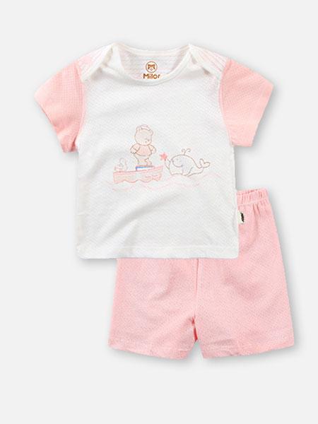 贝儿童品童装品牌2019秋冬粉色卡通印花衣裤