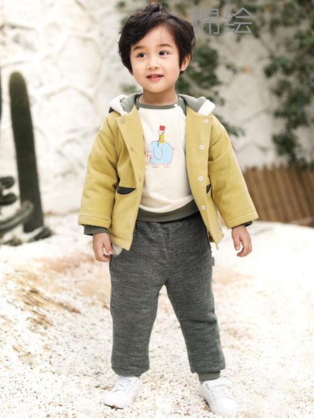 棉绘童装品牌2019秋冬新品纯色加绒外套
