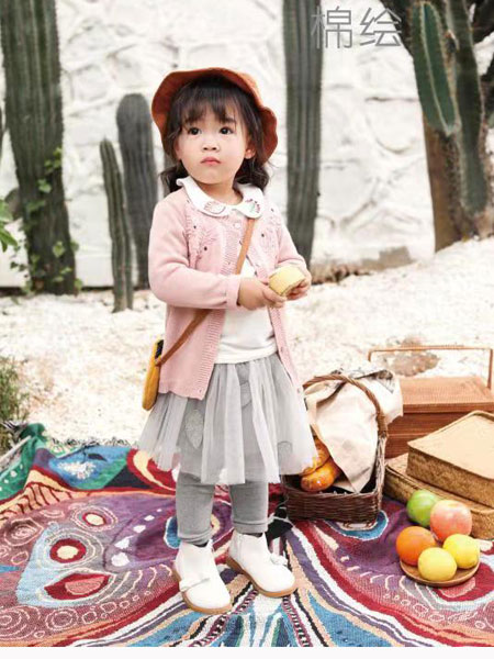 棉绘童装品牌2019秋冬新品粉色外套