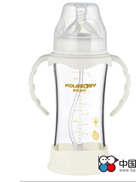 康乐贝比婴童用品防摔晶钻高硼硅玻璃宽口弧形自动奶瓶乳白