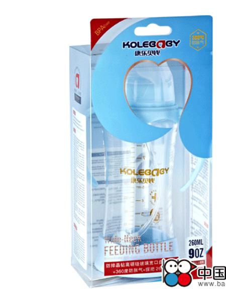 康乐贝比婴童用品防摔晶钻高硼硅玻璃宽口弧形自动奶瓶