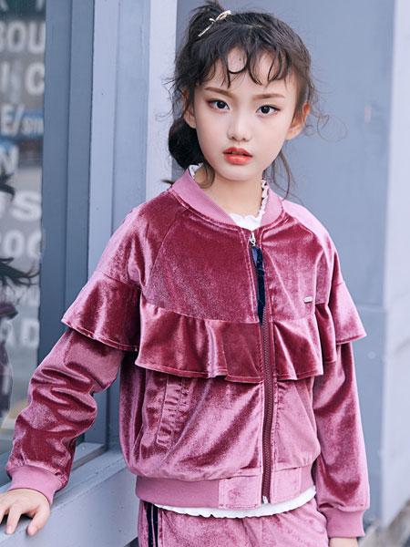 嗒嘀嗒童装品牌2019秋冬金丝绒外套夹克短款加厚宽松荷叶边棒球服