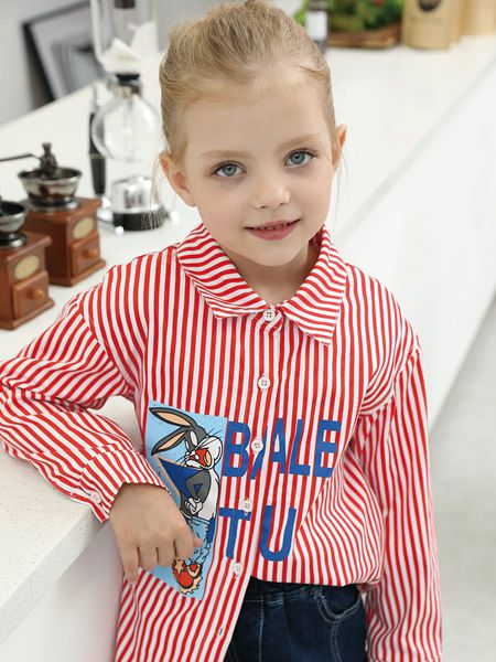 芭乐兔童装品牌2019秋冬字母印花衬衫
