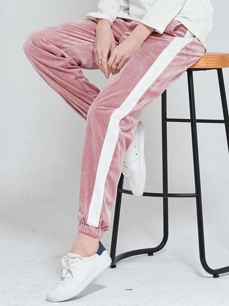孕度YUMDUVM孕妇品牌2019秋冬粉色休闲裤