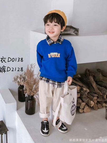 韩都果果HDGG童装品牌2019秋冬蓝色字母印花卫衣