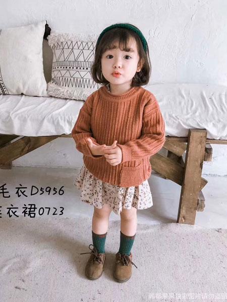 韩都果果HDGG童装品牌2019秋冬褐色毛衣