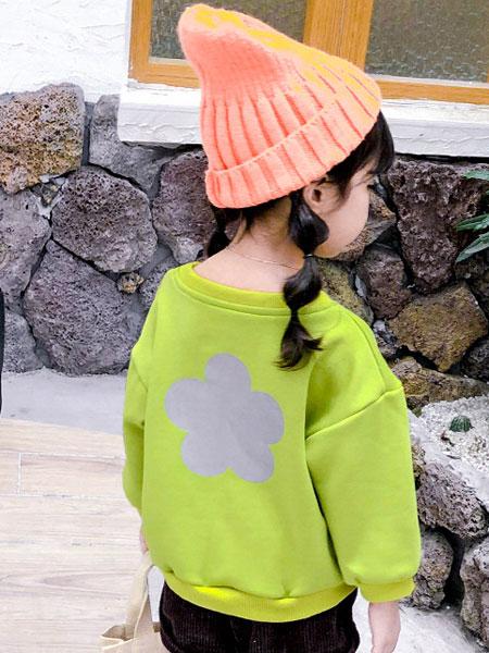 MIAKA.TATU/咪阿卡.塔图童装品牌2019秋冬绿色印花卫衣