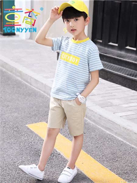 童裔童装品牌2019春夏条纹衬衫