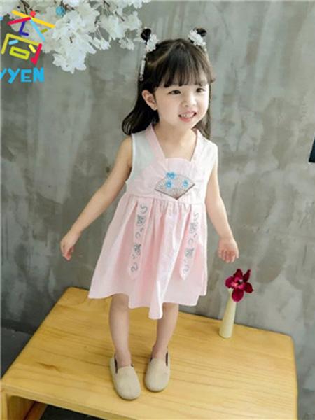 童裔童装品牌2019春夏粉色印花裙子
