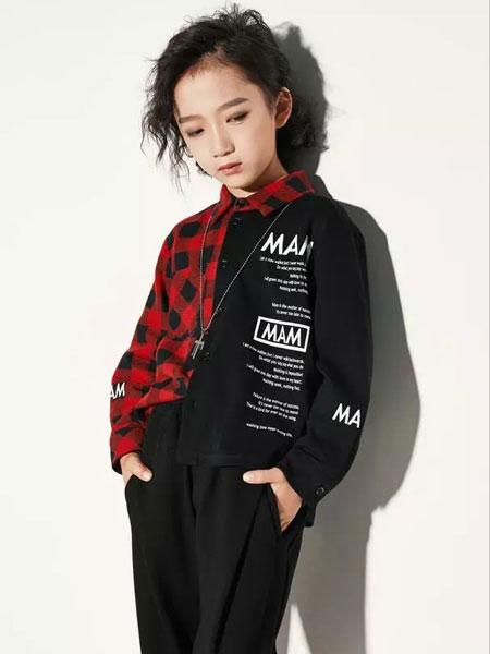欧卡星童装品牌2019秋季新款接撞色宽松格子衬衫