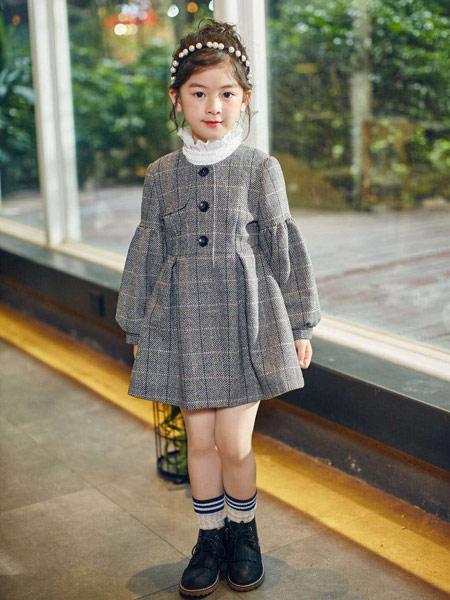 童品壹仓童装品牌2019秋冬灰色裙子