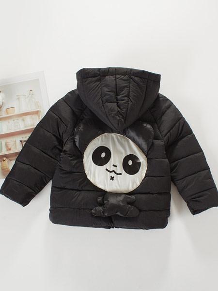 蓝迪贝尔童装品牌2019秋冬黑色熊猫印花羽绒服