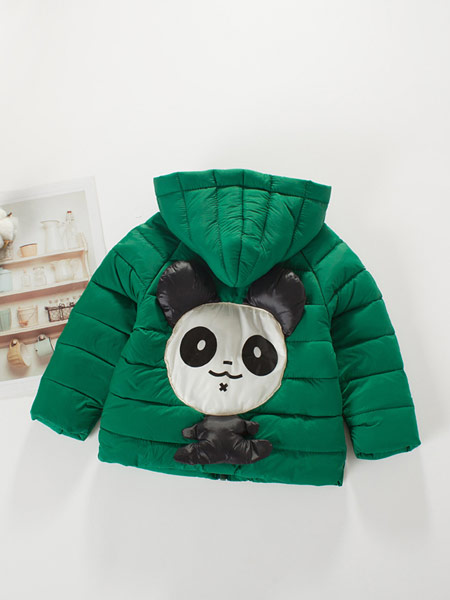 蓝迪贝尔童装品牌2019秋冬绿色熊猫印花羽绒服