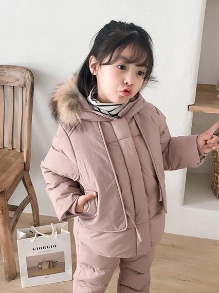 蓝迪贝尔童装品牌2019秋冬粉色羽绒服