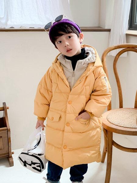 蓝迪贝尔童装品牌2019秋冬黄色羽绒服