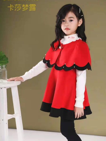 卡莎梦露童装品牌2019秋冬红色裙子