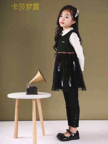 卡莎梦露童装品牌2019秋冬黑色印花裙