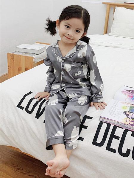 菲瑞娅童装品牌2019秋季印花灰色套装