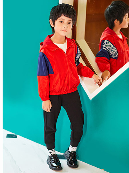 卡尔菲特童装童装品牌2019秋冬红色外套