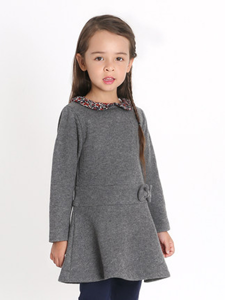 i pinco pallino童装品牌2019秋季娃娃衫荷叶裙摆连衣裙