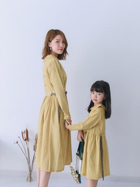 桔子Woranges情侣亲子2019秋冬收腰系带连衣裙