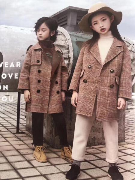 魔方童装品牌2019秋冬毛呢长款大衣