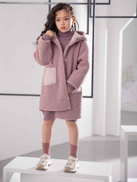 彩色笔童装品牌2019秋冬加绒毛呢外套