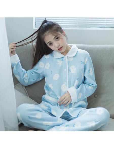 八月格桑童装品牌2019秋冬毛绒绒加厚保暖睡衣