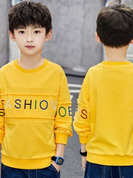一柳童装品牌2019秋冬长袖T恤儿童卫衣男孩保暖上衣
