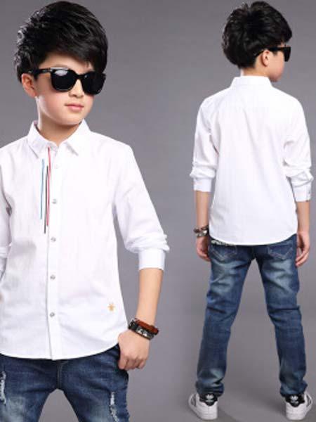 一柳童装品牌2019秋冬长袖衣男童衬衫白色衬衣