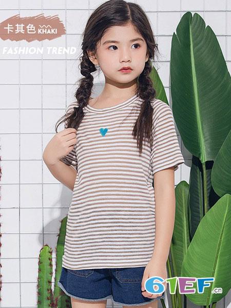 欧恰恰童装品牌2019春夏修身条纹T恤女夏14-16岁12