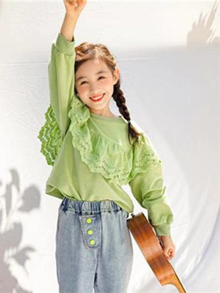 衣尺衣寸童装品牌2019春季蕾丝拼接设计感流苏保暖上衣