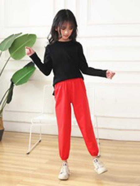 菲衣雅童装品牌2019秋季宽松休闲九分裤红色灯笼裤萝女