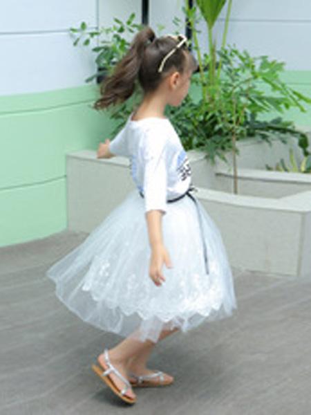 菲衣雅童装品牌2019秋季网纱连衣裙5小女孩6松紧12岁
