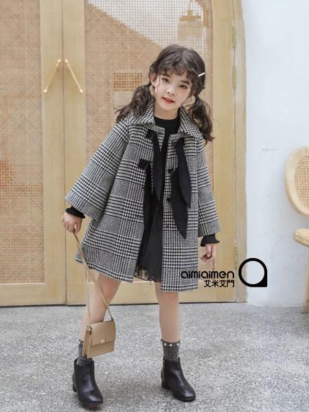 艾米艾门童装品牌2019秋冬千鸟格毛呢外套