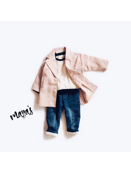 mayas童装品牌2019秋冬小宝宝休闲风衣外套