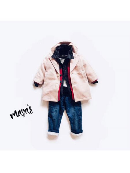 mayas童装品牌2019秋冬休闲风衣外套