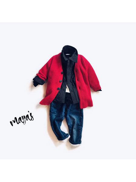 mayas童装品牌2019秋冬针织开衫外套