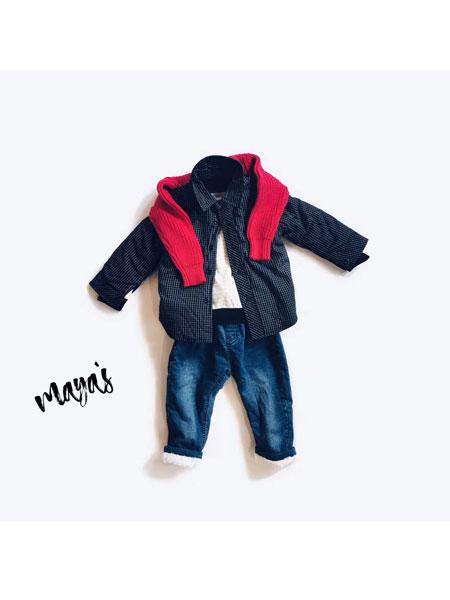 mayas童装品牌2019秋冬加绒衬衫外套