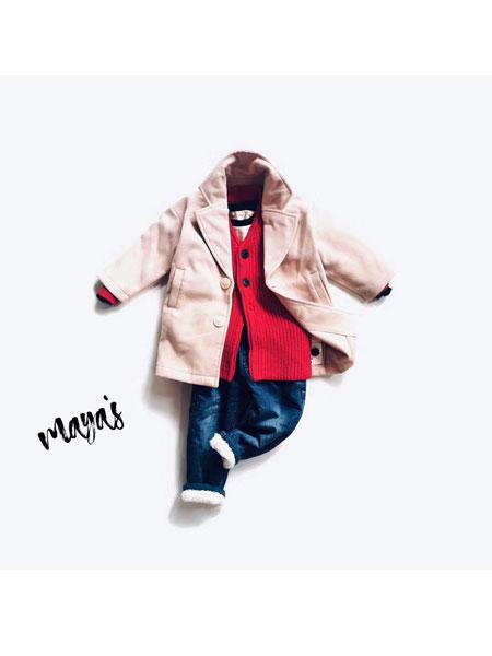 mayas童装品牌2019秋冬加绒毛呢外套