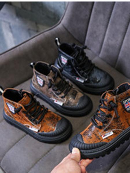 火焰宝贝童鞋品牌2019春夏加绒二棉鞋男童短靴子秋冬季款