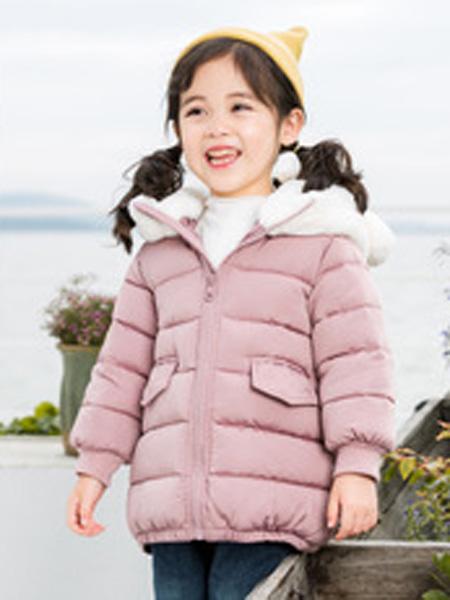 富进童装品牌2019秋冬棉服兔毛连帽外套冬季加厚