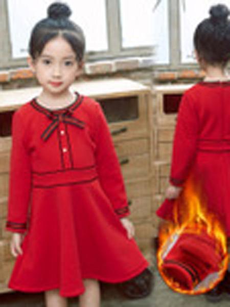 七彩公主屋童装品牌2019秋冬红色连衣裙新款