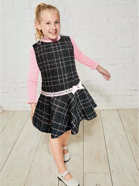 法纳贝儿童装品牌2019秋冬打底衫小香风两件套装女秋