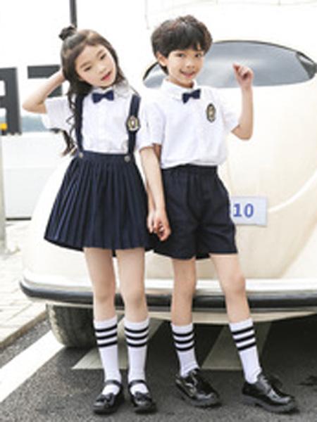 安果儿童装品牌2019春夏时尚英伦风幼儿园园服夏款