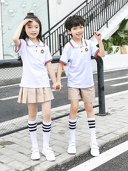 安果儿童装品牌2019春夏男女童白色衬衣卡其短裙两件套