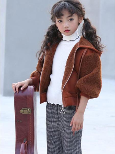 甜蜜小屋童装品牌2019秋冬网红短款加绒外套
