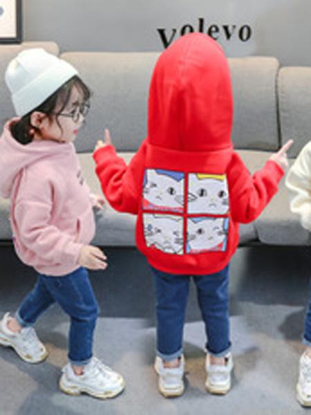 简尚童装品牌2019秋季儿童连帽运动装