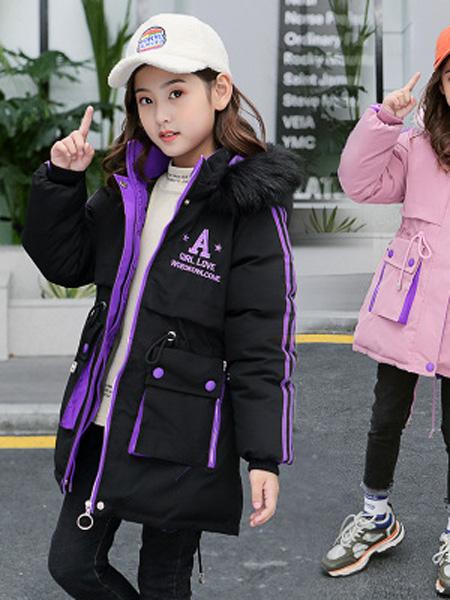 左优贝童装品牌2019秋冬中长款加厚棉衣外套