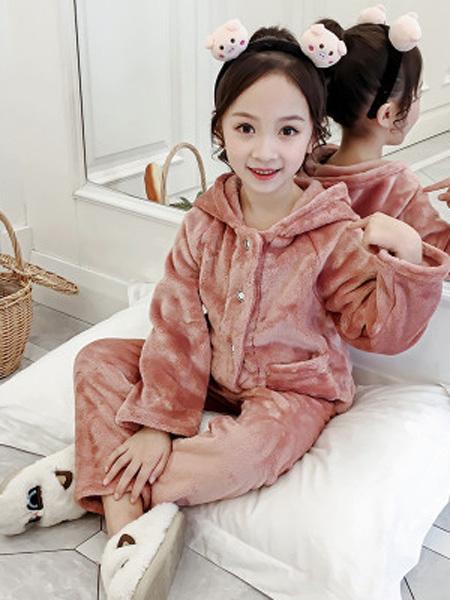 沐升童装品牌2019秋冬睡衣加绒套装
